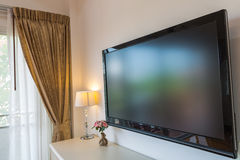 Modern television in living room quiet royalty free stock photos