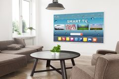 Modern television smart tv. Modern panoramic smart tv on a 3d rendering living room with smart tv on screen royalty free illustration