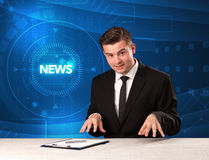 Modern televison presenter telling the news with tehnology backg Stock Photos