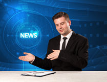 Modern televison presenter telling the news with tehnology backg Royalty Free Stock Images