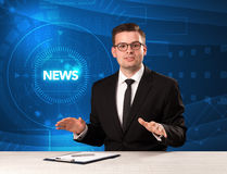 Modern televison presenter telling the news with tehnology backg Stock Image