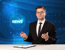 Modern televison presenter telling the news with tehnology backg Royalty Free Stock Photography