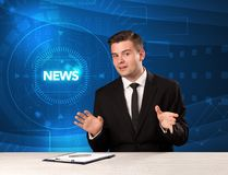 Modern televison presenter telling the news with tehnology backg Stock Photography