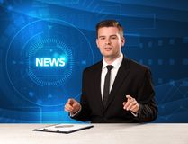 Modern televison presenter telling the news with tehnology backg Royalty Free Stock Photos