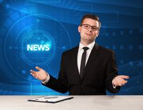 Modern televison presenter telling the news with tehnology background. Concept Royalty Free Stock Photos