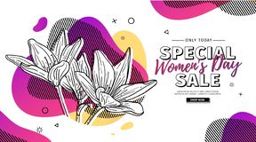 Free Modern Template Design For 8 March Event. Promotion Banner For International Women`s Day Offer With Flower Decoration Royalty Free Stock Image - 140866886