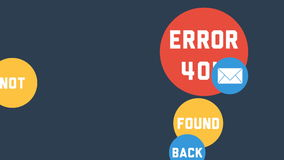 Modern template for Error 404 - Page not found with flat colorful bubbles stock video