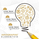 Modern template infographic with pencil drawing a bulb Royalty Free Stock Photo
