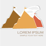 Modern template mountain card on white paper. Vector illustration. Can be use for logo Royalty Free Stock Photos