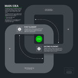 Modern template with two crossing rings in flat style on dark gray background Stock Photography
