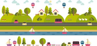 Modern Template With Flat Eco Landscape Illustration Stock Images