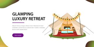 Modern tent with furniture poster. Vector illustration. Comfortable marquee with cozy bed chair and bedside table in it decorated with colorful lights. Glamping Stock Illustration