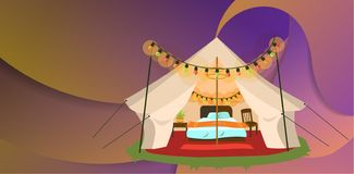 Modern tent with furniture poster. Vector illustration. Comfortable marquee with cozy bed chair and bedside table in it decorated with colorful lights. Glamping Royalty Free Illustration