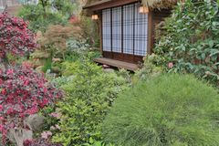 A Modern terrace and garden with zen style. Modern terrace and garden with zen style stock photos