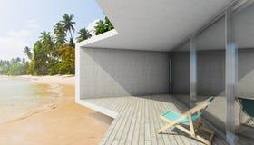 Modern terrass med det stora fjärdfönstret Arkivfoto