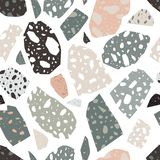 Modern terrazzo texture. Seamless pattern with colored stone fractions or pieces scattered on white background. Creative. Vector illustration for fabric print royalty free illustration