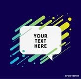 Modern text box with colorful stripes and dark blue background. Ideal for motivational quotations. Vector illustration. Modern text box with colorful stripes stock illustration