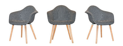 Modern textile chair in black and white chess pattern isolated Royalty Free Stock Image
