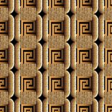 Modern textured greek 3d vector seamless pattern. Check grunge backround. Geometric abstract vintage ornament with squares, greek key, meanders, shapes Royalty Free Stock Photography