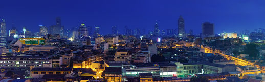 Modern Thai architecture with night lights. Stock Photography