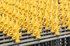 Modern Thai art of fence at the temple Stock Photography