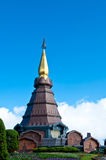 The modern thai style pagoda with blue sky and garden in Thailan Royalty Free Stock Image