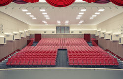 Modern theater. Empty red armchairs in modern theater Royalty Free Stock Photo
