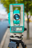 Modern theodolite close up view Royalty Free Stock Photo