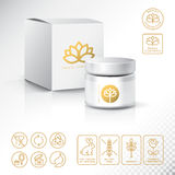 Modern Thin Contour Line Icons Set of Natural Cosmetics Packaging. Gluten free, organic product, not tested on animals. Blank Cosmetic bottle with box isolated royalty free illustration