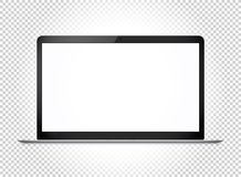 Modern thin laptop with wide screen. Vector mockup Stock Photos