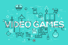 Modern thin line banner of classic game objects, mobile gaming elements. Modern thin line template of classic game objects, mobile gaming elements. Vector Royalty Free Stock Image