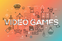 Modern thin line banner of classic game objects, mobile gaming elements. Vector illustration concept of word video games for website and mobile website banners Royalty Free Stock Photo
