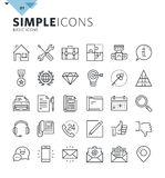 Modern thin line basic web icons Stock Photos