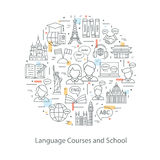 Modern thin line concepts of learning foreign languages, language training school. Royalty Free Stock Images