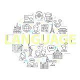 Modern thin line concepts of learning foreign languages, language training school. Stock Photos