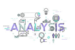 Modern thin line design concept for analysis website banner. Vector illustration concept for business analysis, market research, product testing, data analysis Stock Photography