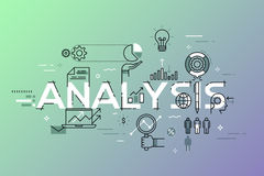 Modern thin line design concept for analysis website banner. Vector illustration concept for business analysis, market research, product testing, data analysis Royalty Free Stock Images