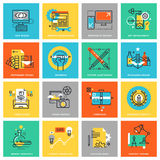 Modern thin line flat design icons for graphic design Stock Photo