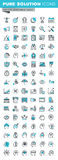 Modern thin line flat design icons set of business, finance and human resources. Modern thin line flat design icons set of business strategy, planning, analysis Stock Photo
