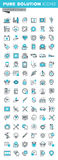 Modern thin line flat design icons set of medical supplies, healthcare diagnosis and treatment Royalty Free Stock Image