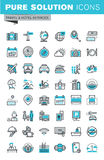 Modern thin line flat design icons set of travel and tourism sign and object. Holiday trip planning, hotel services, accommodation. Outline icon collection for Royalty Free Stock Photo