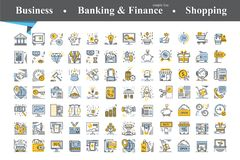 Modern of thin line and flat icons set. For business,economic,development,banking, finance,shopping.Linear trendy symbols set.Premium quality outline symbol Royalty Free Stock Image