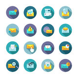 Modern thin line flat icons vector collection in stylish colors of messages. Modern long shadow flat vector icons collection in stylish colors of mail messages Stock Illustration