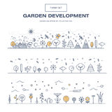 Modern thin line garden isolated flower icon set and premium qua Royalty Free Stock Image