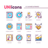 Modern thin line icons collection of business and finance. Global colors. Vector pack for web graphics or print. Modern thin line icons collection of business Royalty Free Stock Photo
