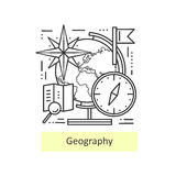 Modern thin line icons of geography. Royalty Free Stock Images