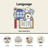 Modern thin line icons of learning foreign languages, language training school. Royalty Free Stock Image