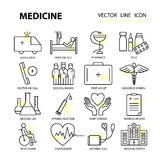 Modern thin line of icons on medicine and health symbols. Royalty Free Stock Photo