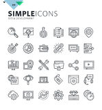 Modern thin line icons of SEO and web development. Royalty Free Stock Photos