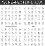 120 modern thin line icons set of bakery, seafood, fruits and vegetables, drinks. 120 modern thin line icons set of bakery, seafood, fruits and vegetables Stock Images